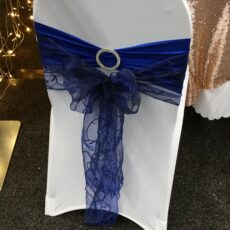 Wedding White Chair Cover, Band & Bow